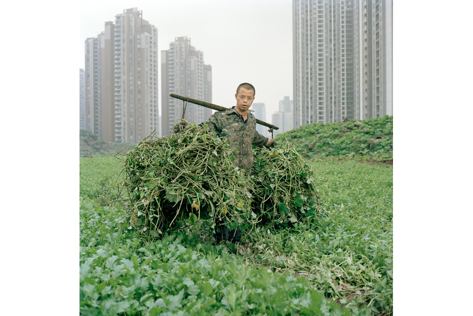 Wang Chengyun, a Chongqing resident, pauses for a photograph while helping his uncle clear an open plot on a construction site to use it for farming.