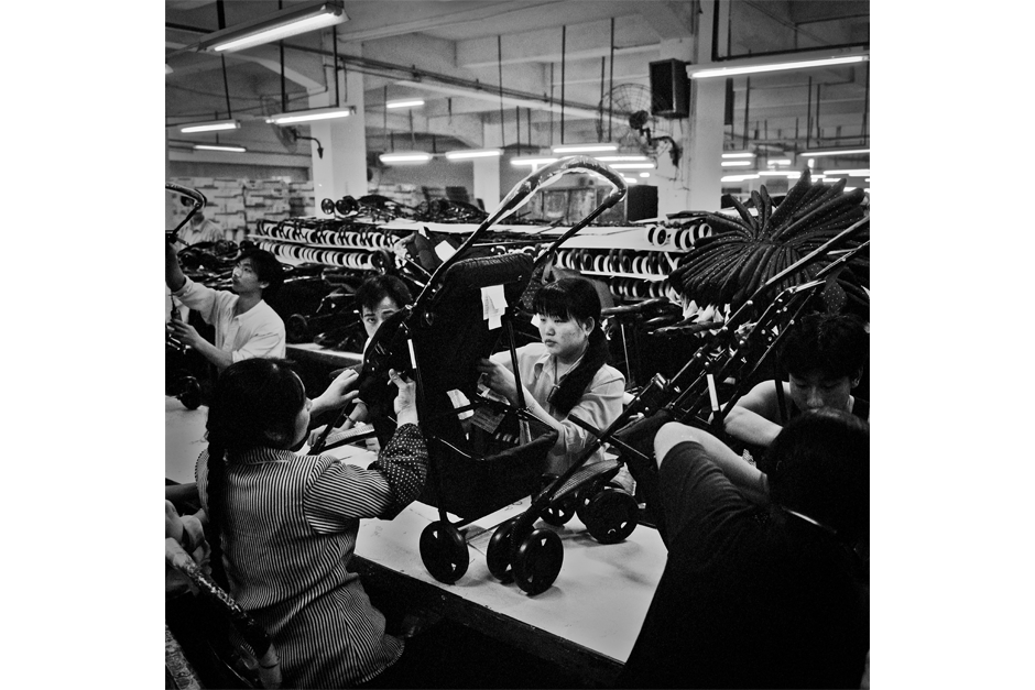 Stroller assembly on the factory floor.