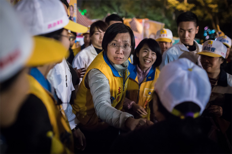 Candidate Hsu Hsin-ying at a rally in Zhubei County on January 10. Hsu left the Kuomingtang less than one year ago to found the Minkuotang.