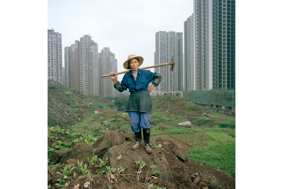 As Jiangbei rises into a forest of high-rises, shopping malls, and elevated roads, lifelong resident Ren Yindi, sixty-six, continues to farm. In 2007, Mr. Ren was given an urban residence permit and with it the right to enroll his children in the city school system. He exchanged his land for two apartments built in a new development.