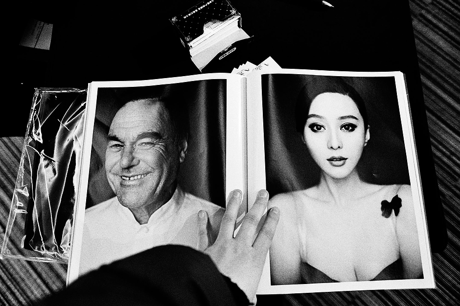 Bingbing is viewed alongside American director Oliver Stone in the popular Beijing fashion magazine, <em>Outlook</em>. Shanghai.