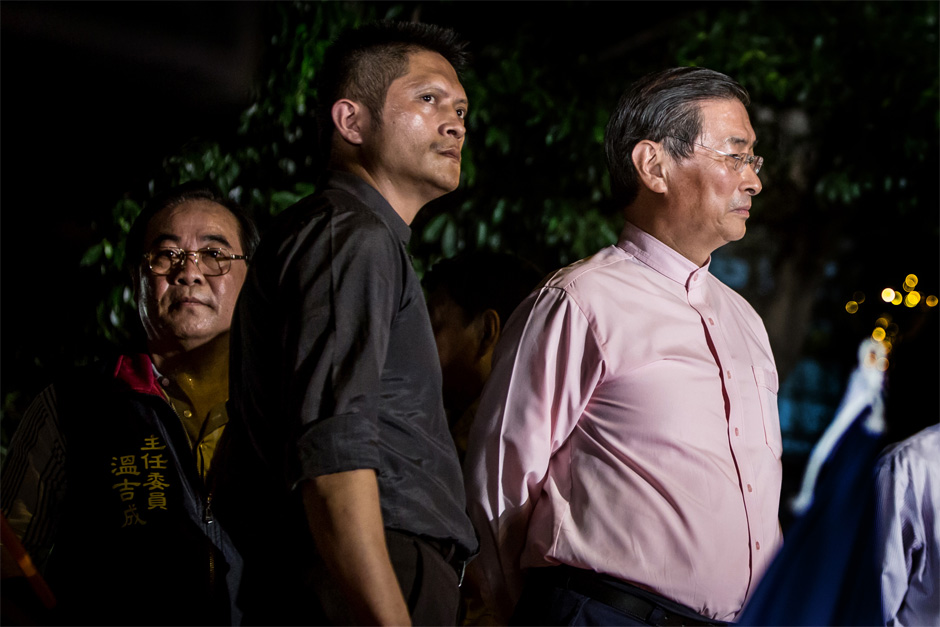 "Chang An-lo, a.k.a. the ""White Wolf,"" right, a former Bamboo Union triad boss, at an August rally across the street from the Taiwan Ministry of Education (MOE). Now the leader of the China Unification Promotion Party, Chang stood in protest against students who occupied the MOE, scolding them for being pro-Japanese."