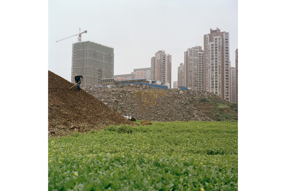 Ren hoes a man-made hillside, as temporary worker housing and permanent developments rising in the distance. He farms about 100 square meters of land and makes RMB 3,000 to 5,000 (U.S.$480-$800) per month selling his vegetables at local markets.