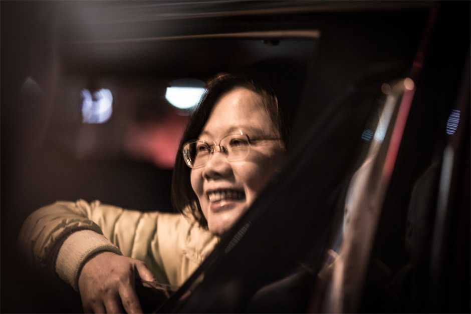 Taiwan presidential candidate Tsai Ying-wen says farewell to supporters after addressing a crowd in Zhudong, Hsinchu County.