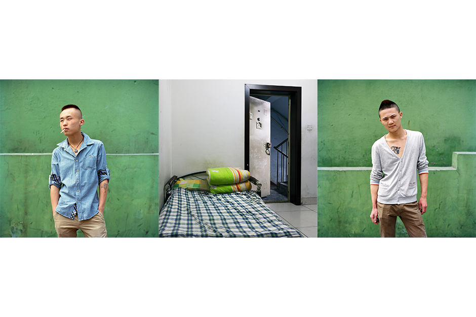 Lu Chao, 20, left, and Chen Yi, 21, Ru Yi Meifa Dian (Lucky Hair Salon). The owner of the salon where Lu and Chen work also owns a nearby apartment building where they sleep. All the rooms are occupied, so the two share a bed in the entrance hall of the apartment building.