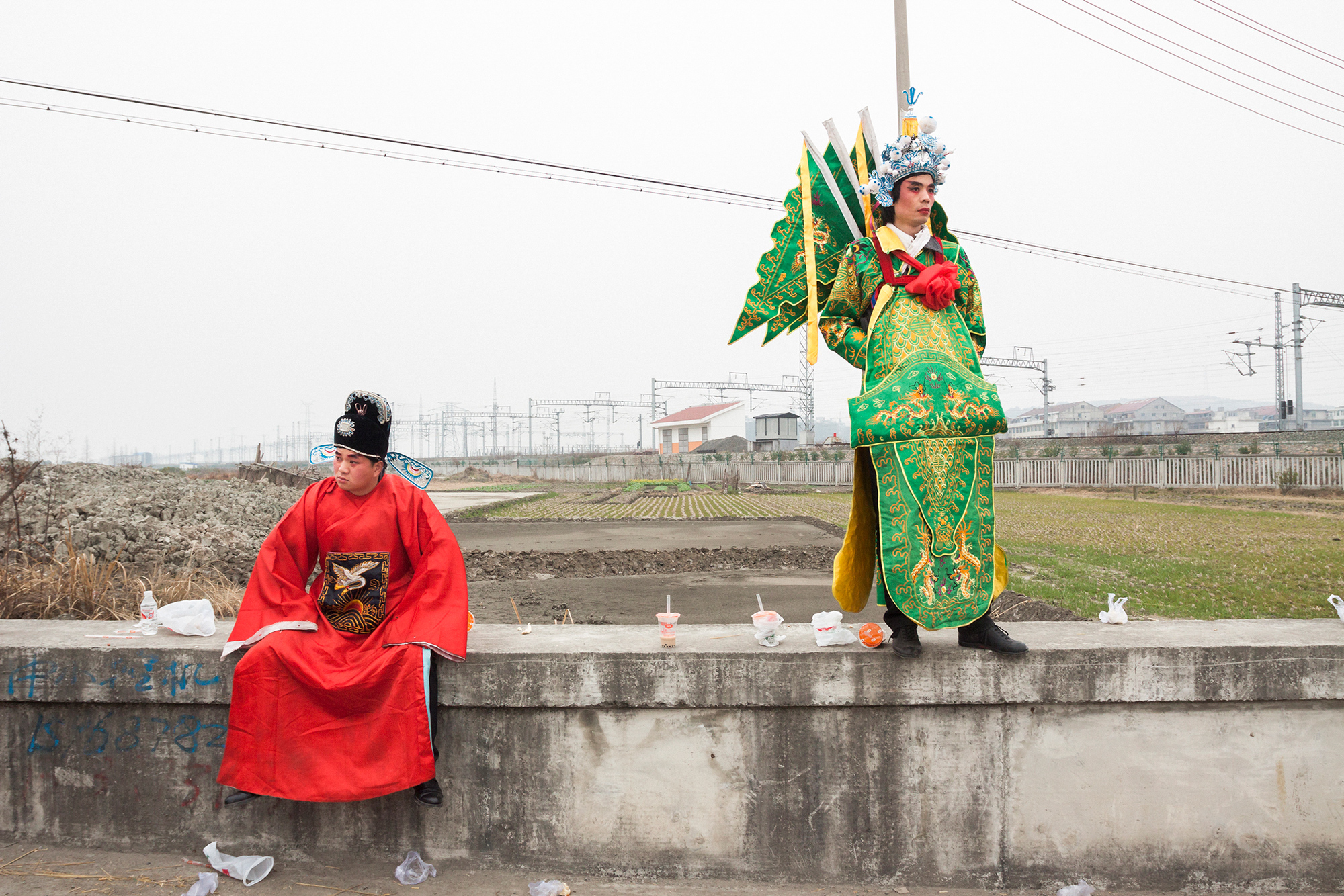 Costumed performers participate in a Spring Festival parade in Taoshan township, February 10, 2011.