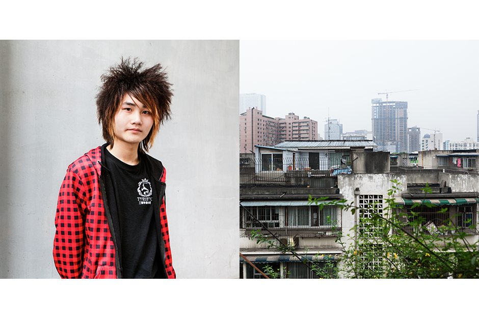 Zeng Chuanxin, 18, Huaman Xingxiang Sheji (Flower Shape Design). At right, the view from the rooftop of his apartment building. After several months working as a hairdresser, Zeng left his job to work nights as a waiter at a gay bar in Chengdu.