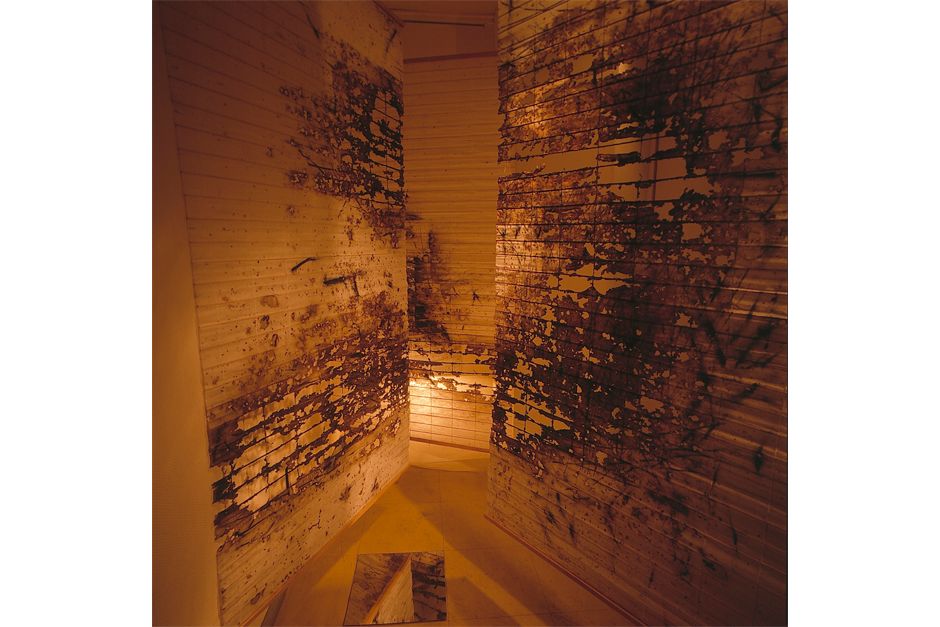 "An early work by Cai, ""Space No. 1,"" hung in a gallery in Tokyo, 1989. (Photo courtesy Cai Studio)"