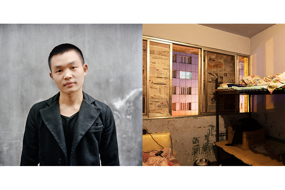 Deng Haibo, 21, Mei Shi Mei Ke (Beautiful Moments). Deng shares his apartment with two other salon employees. They cover the windows with newspaper to block some of the light and to give the room, which is above a lively street in the city center, a little more privacy.