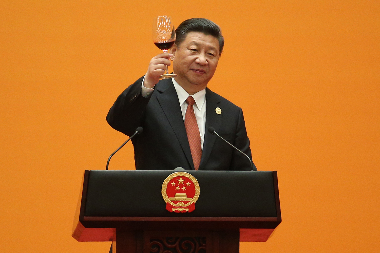 May 14, Xi Jinping makes a toast during a welcome banquet for the Belt and Road Forum (BARF) at the Great Hall of the People in Beijing. The Belt and Road Initiative, now in its 5th year, is one of Xi's signature programs. It seeks to dramatically expand Chinese trade, infrastructure, and economic influence in neighboring countries and around the world.  (Wu Hong-Pool/Getty Images)