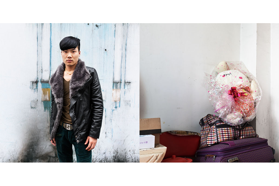 Yu Yan, 28, Weimei Jing Jian (Beautiful Perfect Cuts). Yu has been working in Chengdu for four years. He shares an apartment with other employees of the Beautiful Perfect Cuts salon. A dozen of his colleagues share three other apartments in the building.