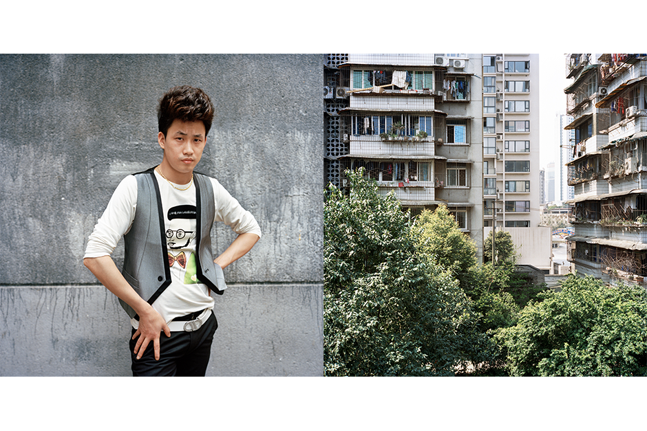 Liao Yang, 26, Xin Ming Ming (New Dawn). Like many of his colleagues, Liao lives in a large apartment with a kitchen, dining room, dormitory-style beds, shared bathroom, and a balcony.