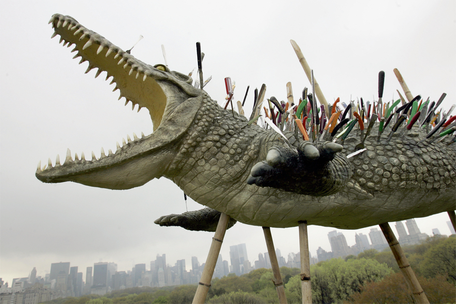 "A sculpture titled ""Move Along, Nothing To See Here"" by Cai, on display at the roof garden at the Metropolitan Museum of Art, April 24, 2006. The exhibit was called ""Cai Guo-Qiang on the Roof: Transparent Monument."" (Photo by Timothy A. Clary/AFP/Getty Images)"