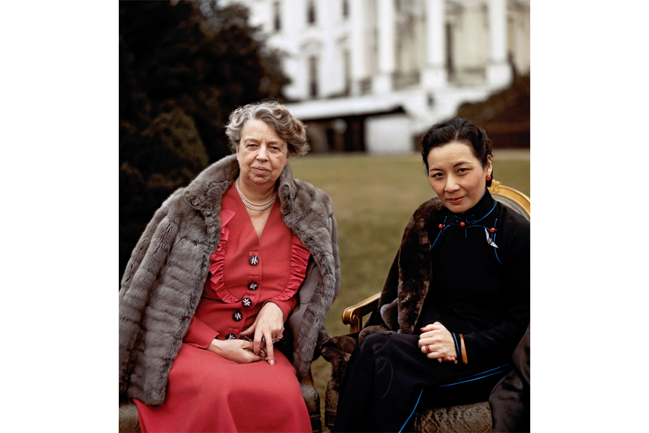 Eleanor Roosevelt in front of the White House with Soong Meiling (a.k.a. Madame Chiang Kai-shek) in February 1943. Soong came to the U.S. to rally support for China in World War II. The daughter of a prominent Shanghai businessman, Soong was educated at Wellesley, spoke fluent English, and often served as de facto ambassador for her husband. (Universal History Archive/Getty Images photo)