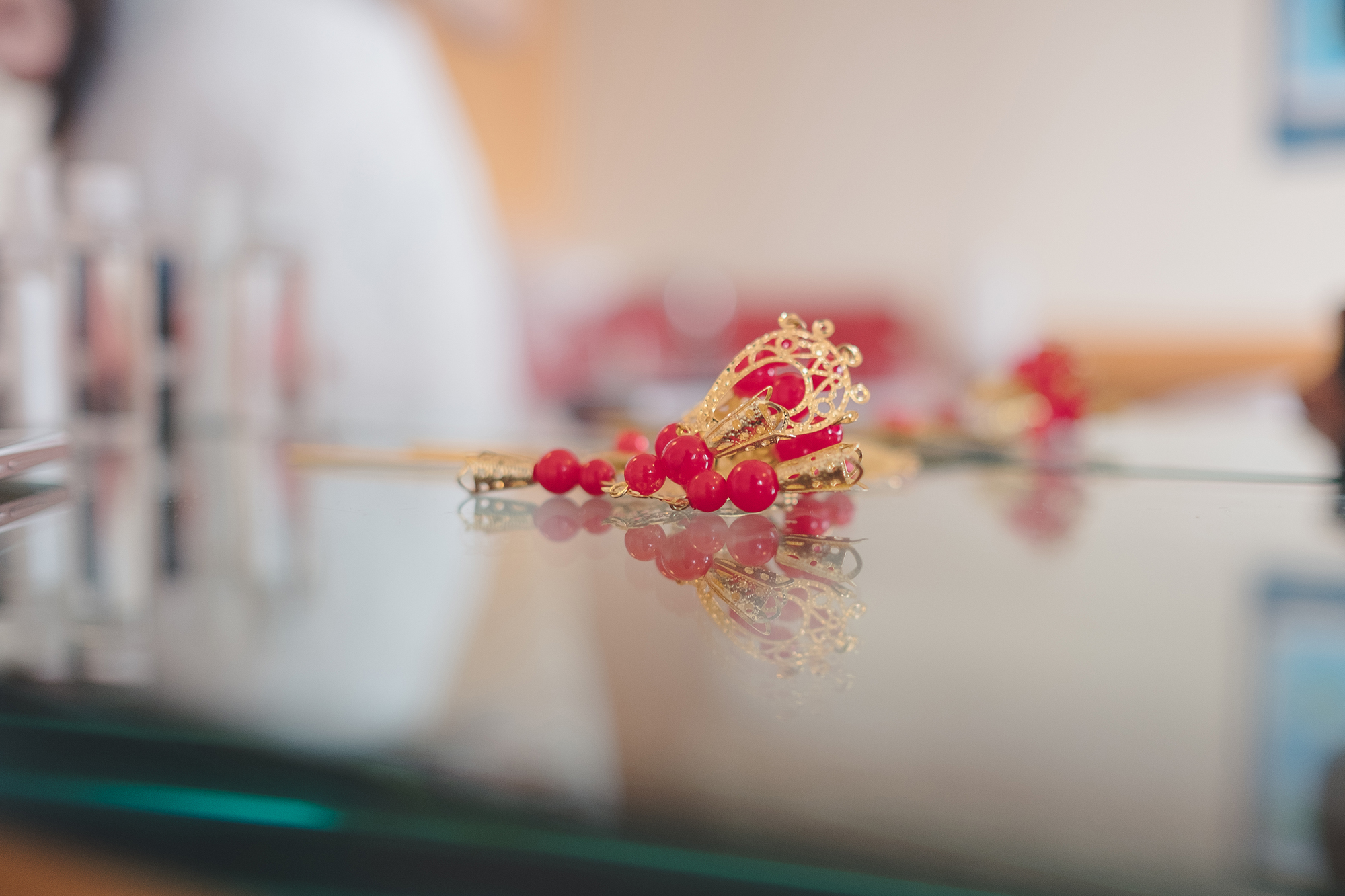 Yang's hair pin is seen on a table in her dressing room. The group wedding is in traditional Chinese style.