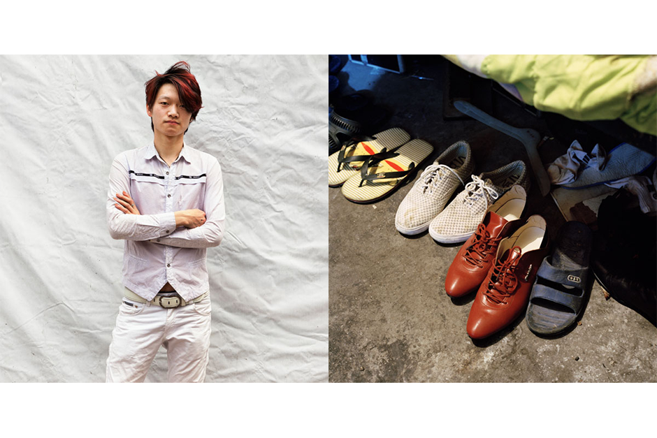 Yu Yongqiang, 23, Fa Ming Jia (Renowned Excellence Hair). Yu's shoes are lined up underneath his bed.