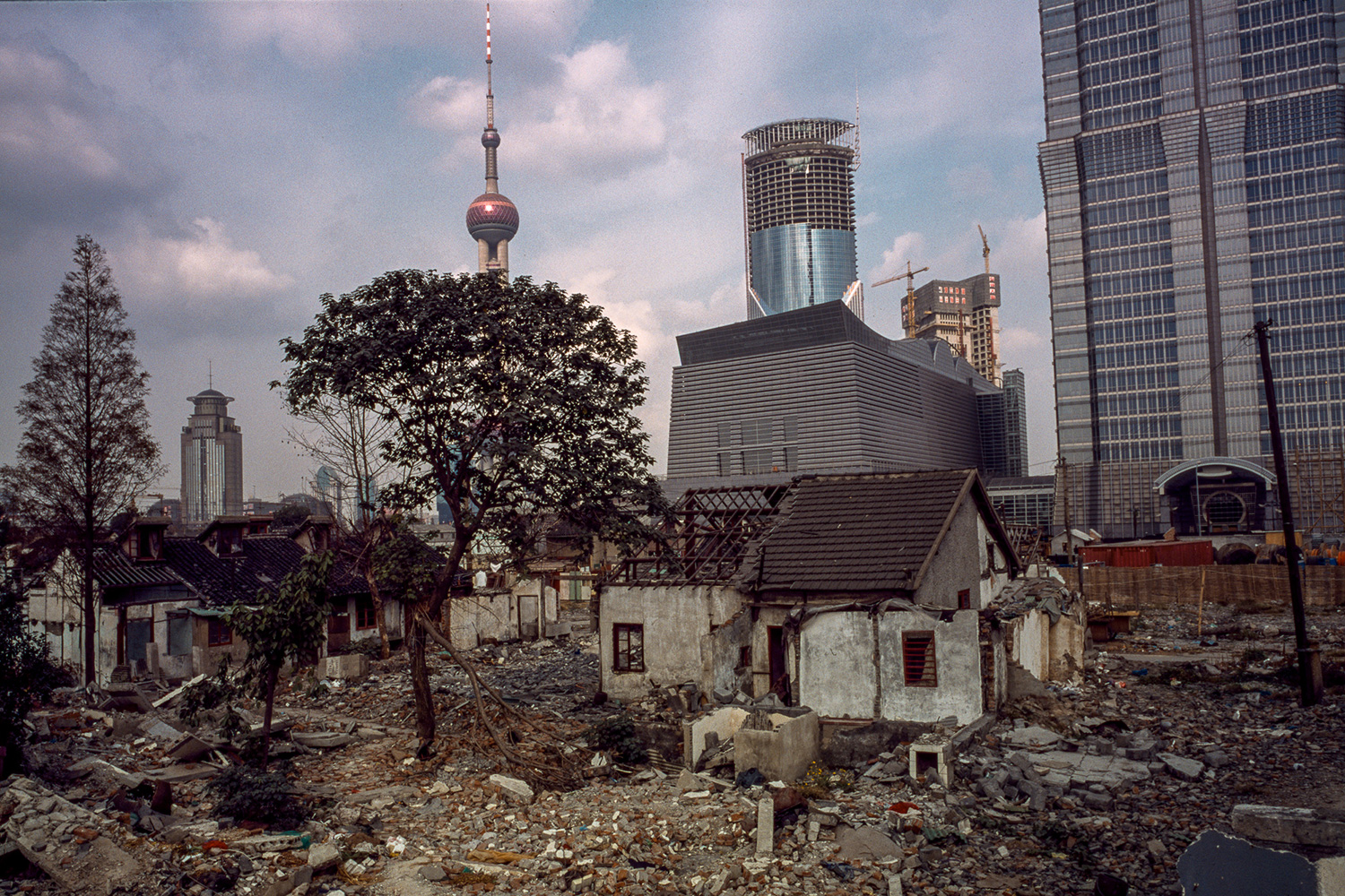 A razed neighborhood at the base of the Jin Mao Tower, 1997.