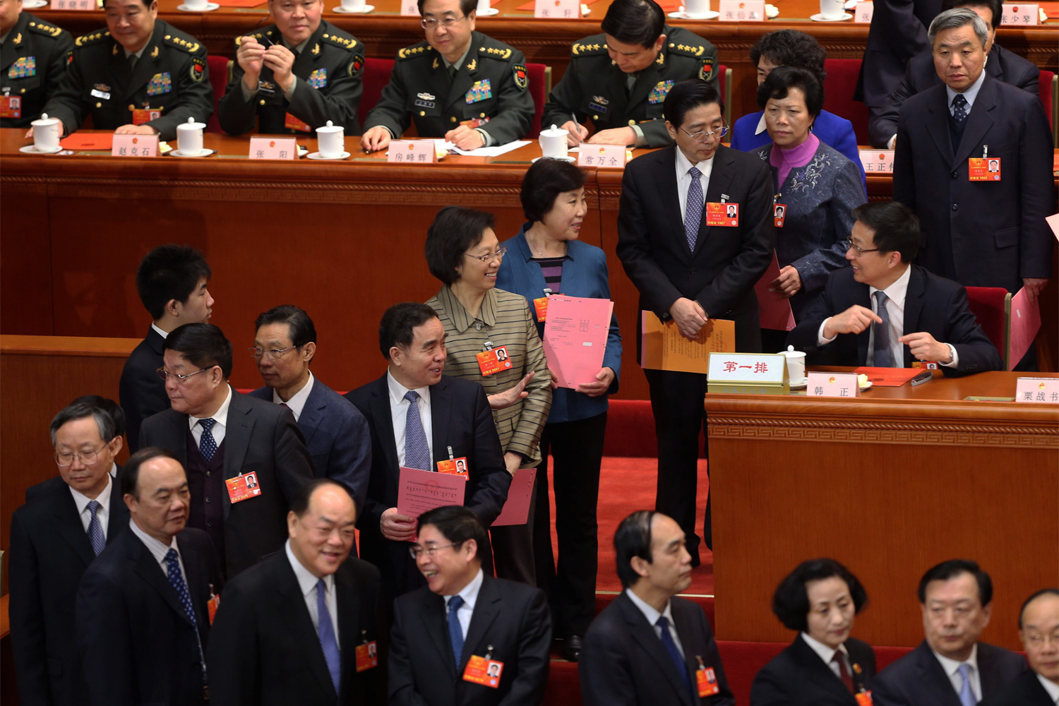 Deputies of the NPC queue up to vote whether to approve the nomination of Li Keqiang as the next Premier of China's State Council during the Fifth Plenary Session of the First Session of the 12th NPC at the Great Hall of the People, March 15, 2013. The vote was open to the media. Li's nomination was approved, making him the second most powerful official in China, directly behind Xi Jinping.