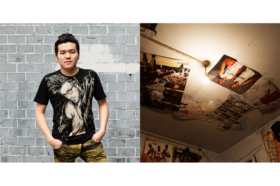 Luo Hai, 22, Fa Ming Jia (Renowned Excellence Hair). Luo shares his apartment, dormitory-style, with five other colleagues. Above where he sleeps on the top level of a bunk bed, he stuck posters of his basketball idols to the ceiling.