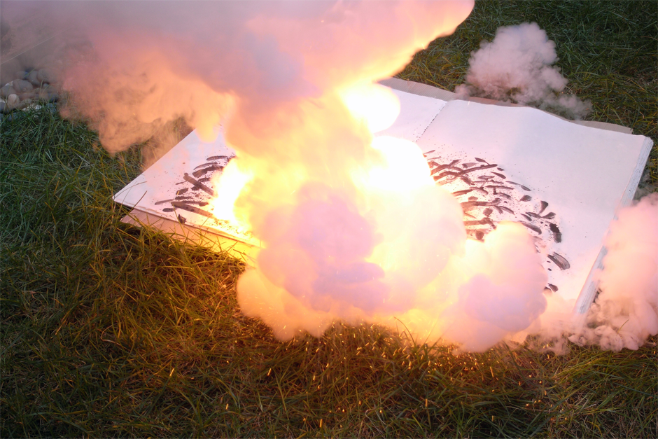 "The creation process of ""Danger Book: Suicide Fireworks (Exploded Prototype),"" 2007. (Photo by Tatsumi Masatoshi, courtesy Cai Studio)"