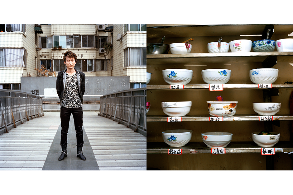 Zhang Chao, 24, JK Gan Jian (JK Dry Cut). Residents keep their own bowls on a shelf with their names in the common kitchen in Zhang's apartment.