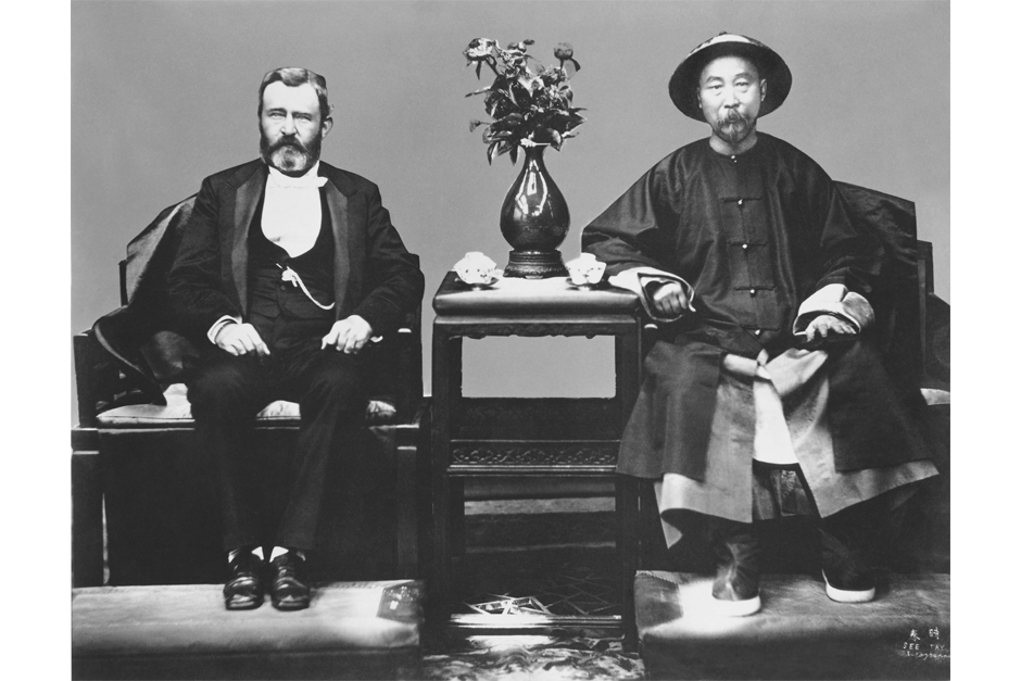 Former U.S. President Ulysses S. Grant meets with Li Hongzhang, who was then Governor General of Zhili (roughly, modern day Hebei province), in Tianjin, 1879. Both men had led their countries in suppressing rebellion (Grant as the Commanding General of the United States Army in the Civil War, and Li played a key role in the suppression of the Taiping Rebellion). In 1875, Li had led a coup that made him one of the most powerful men in the Qing court, as well as its top diplomat and the de facto leader of its military. (Photo by See Tay/Underwood Archives/Getty Images)