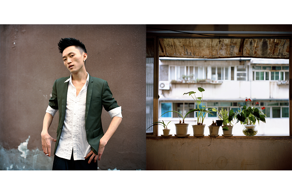 Xia Wei, 22, Chao Fan Zao Xing (Excellent Style Salon). Wei's flowers decorate the railing of this balcony.