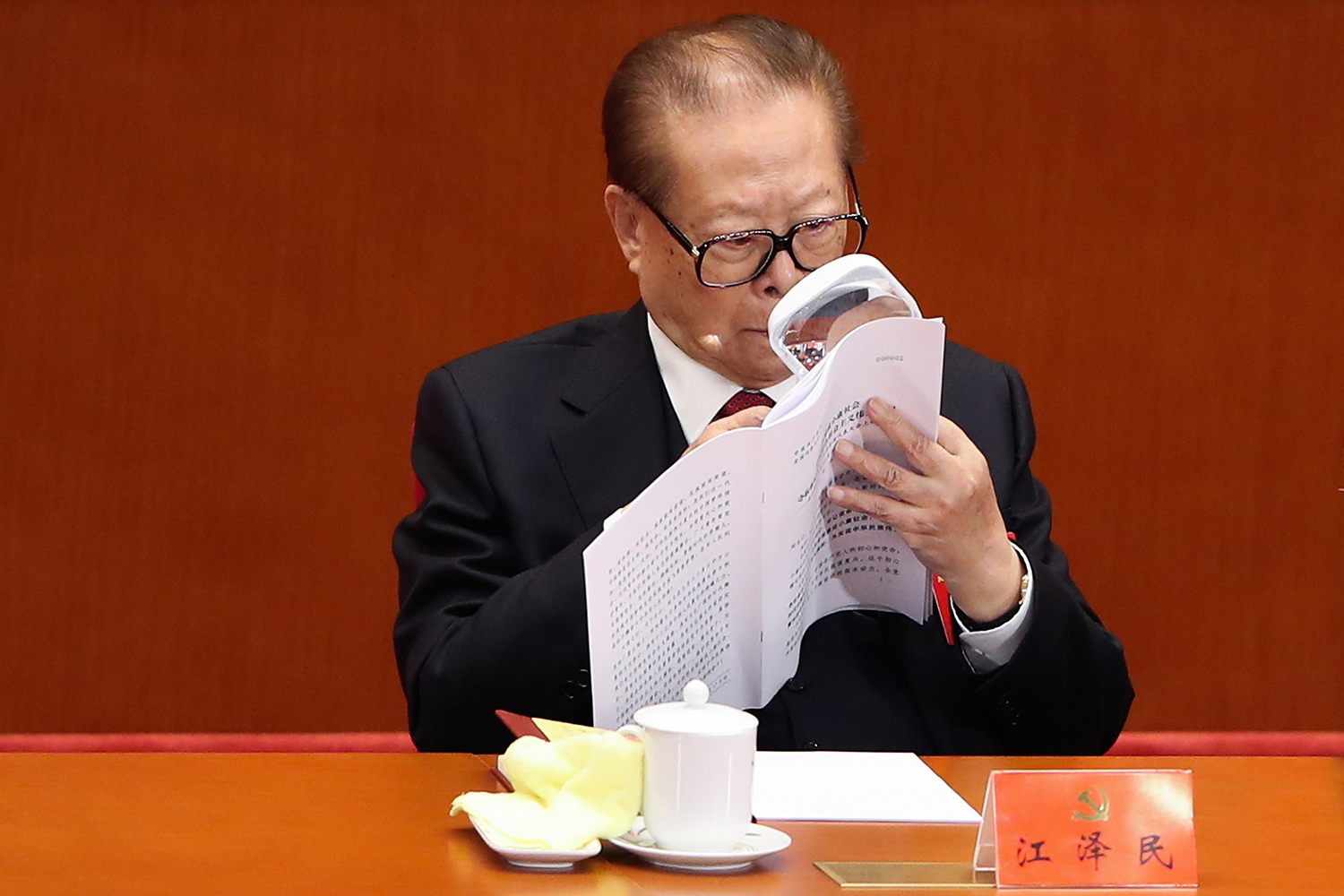 October 18, China's former president Jiang Zemin, 91, attends the opening session of the Chinese Communist Party's Congress at the Great Hall of the People in Beijing, on October 18, 2017 in Beijing. (Lintao Zhang/Getty Images)