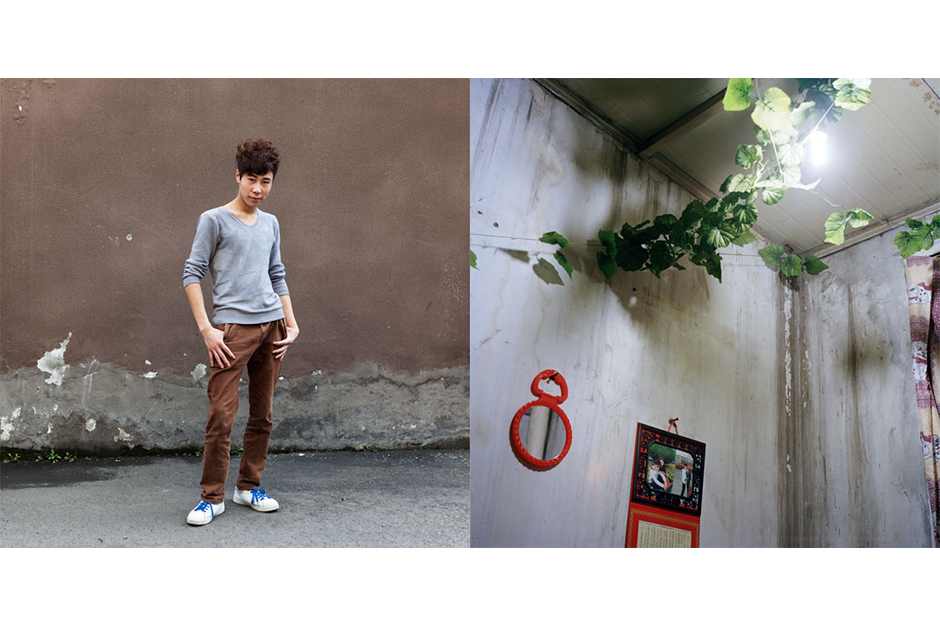 Hu Qilin, 21, My Bo Bo. Hu lives with his girlfriend in a small room in the basement of an apartment rented by another family. A plastic vine is used to decorate the ceiling.