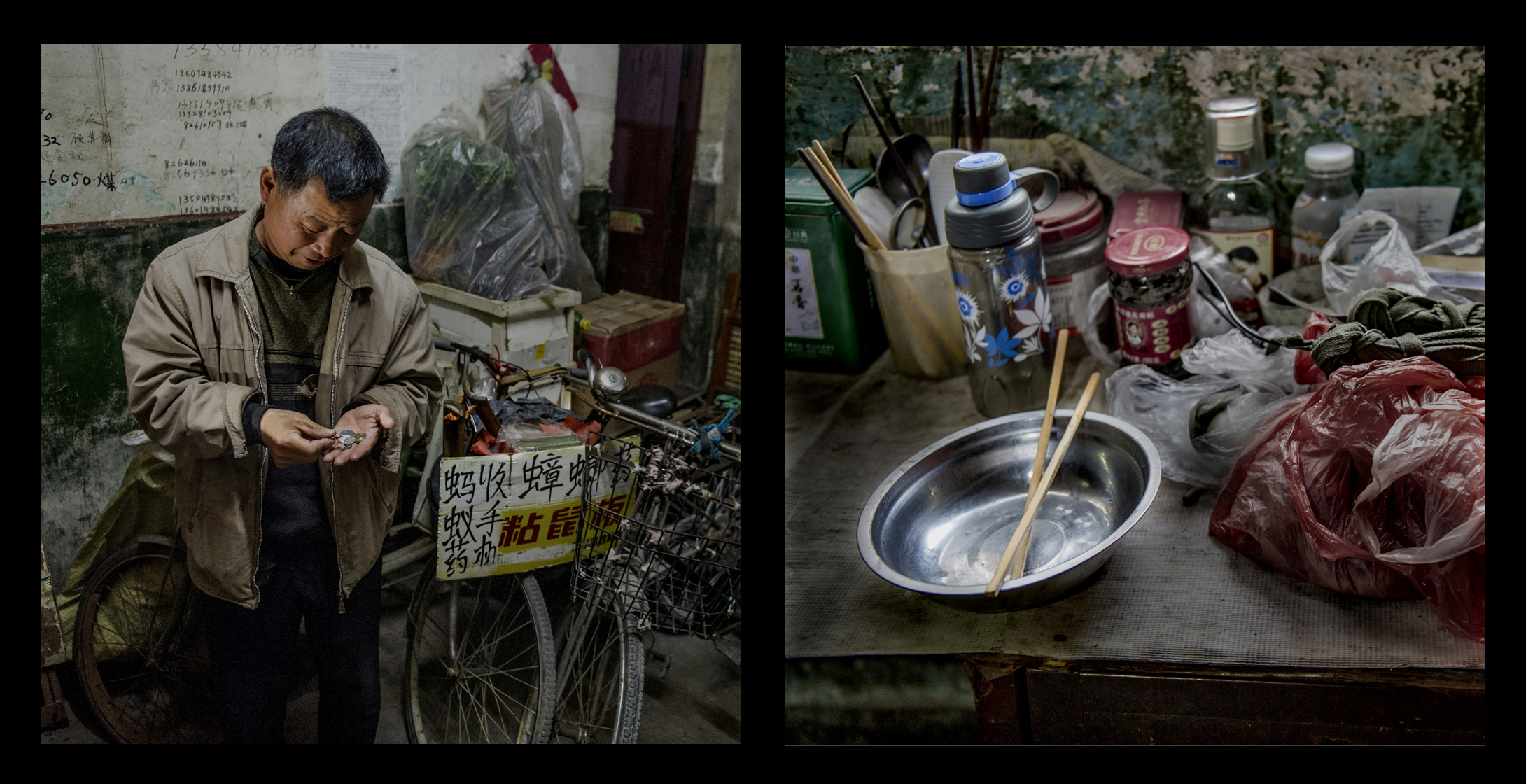 """Wang Zhiyong, 53, from Bengbu, Anhui, made his living buying used cell phones. He lived at the Paddy's Edge for more than 20 years. He was often the first of the residents to leave for work in the morning, returning home late at night. He sometimes biked 40 or 50 kilometers to do business in other districts. The residents of the Paddy's Edge called him a """"model worker."""""""