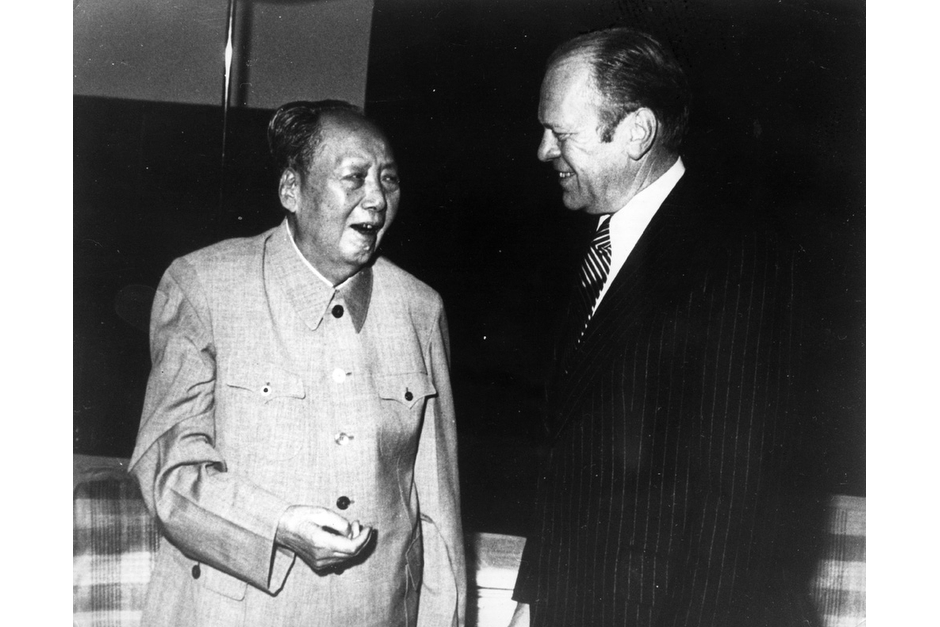 Mao Zedong in discussion with U.S. President Gerald Ford, in China, December 1975. Ford was the second U.S. President to visit China. (Keystone/Getty Images photo)