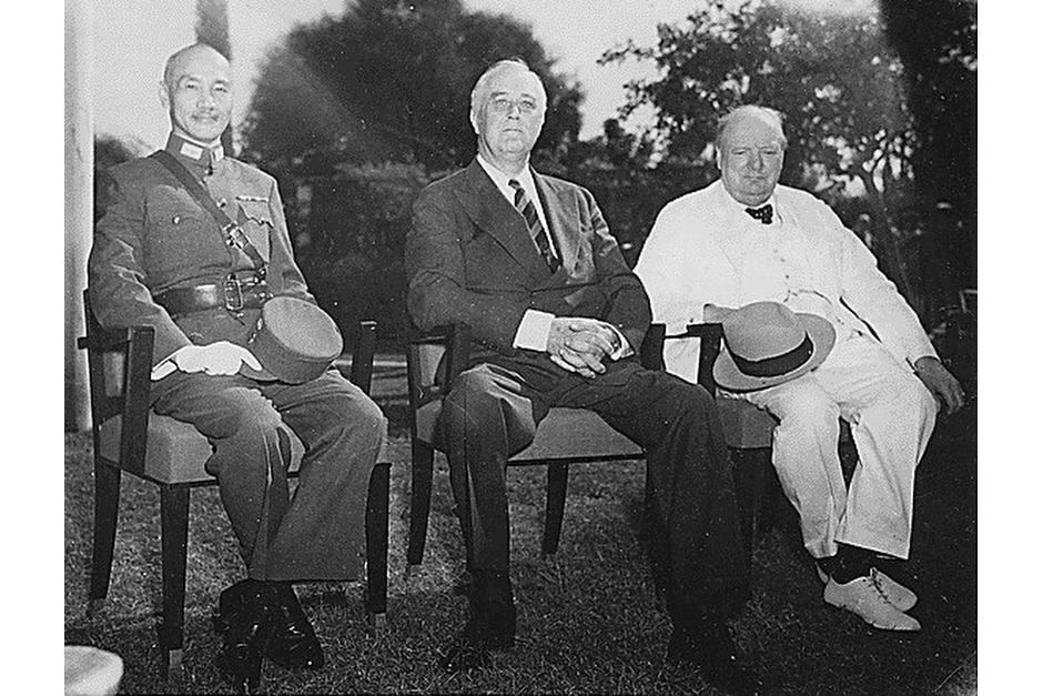 "Chiang Kai-shek, President Franklin Roosevelt, and Winston Churchill in Cairo in late 1943. The purpose of the ""Cairo Conference"" was for the Allies to coordinate their responses to Japan in World War II. In a press release after the meeting, China was included as one of four ""Great Powers"" (Russia was the fourth), and Britain and the U.S. agreed that territories of China that Japan had taken—including Manchuria, Taiwan, and the Pescadores—would be returned to China when the war ended. Two years later, when Roosevelt and Churchill met in Yalta with Stalin to work out the architecture of postwar Europe they did not invite Chiang. (Wikimedia photo)"