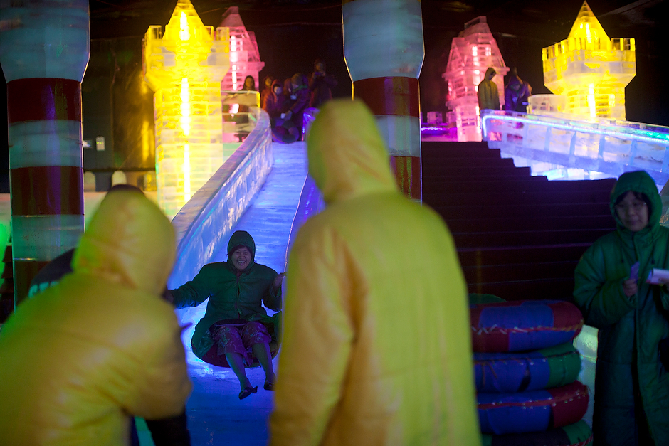 Spirits are bright at an ice park built by a Chinese company in Yangon. Natives of the tropical city found it a novelty to wear borrowed down jackets as they trudged around on the ice in their open-toed sandals. The ice park is but one of a recent influx of Chinese businesses in Myanmar. But the current government, which put a massive Chinese-backed dam project on hold, seems to be signaling a shift away from a reliance on the Chinese to greater openness towards the U.S.