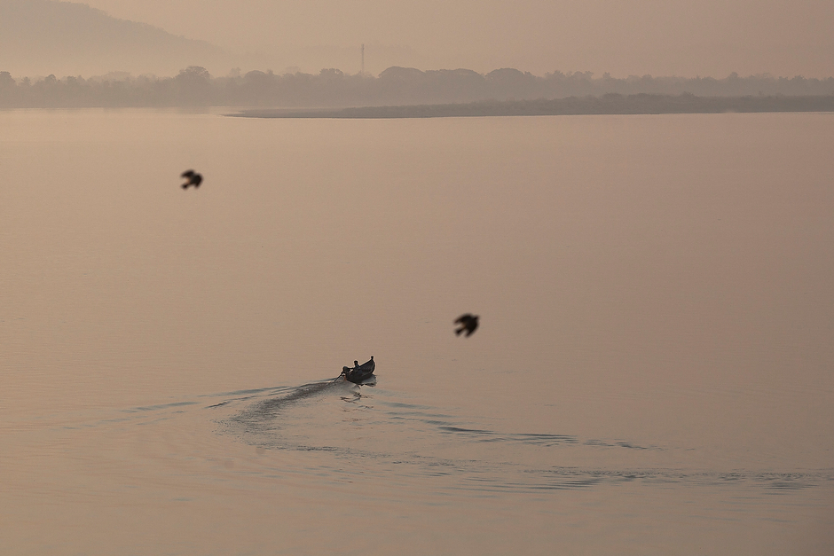 The Irrawaddy River as the morning sun breaks over Myitkyina.