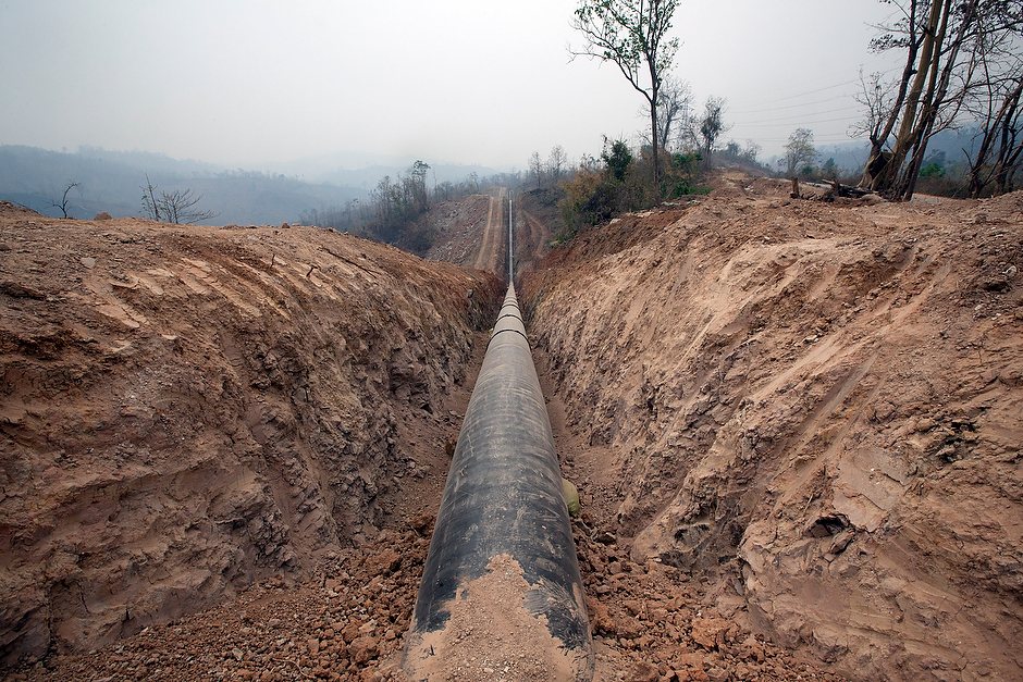 Miles of pipe laid for the China National Petroleum Corporation's multibillion-dollar pipeline to pump oil and gas to China. The two countries share a border more than 1,300 miles long. Myanmar stands in the way of China's most direct route to the Indian Ocean.