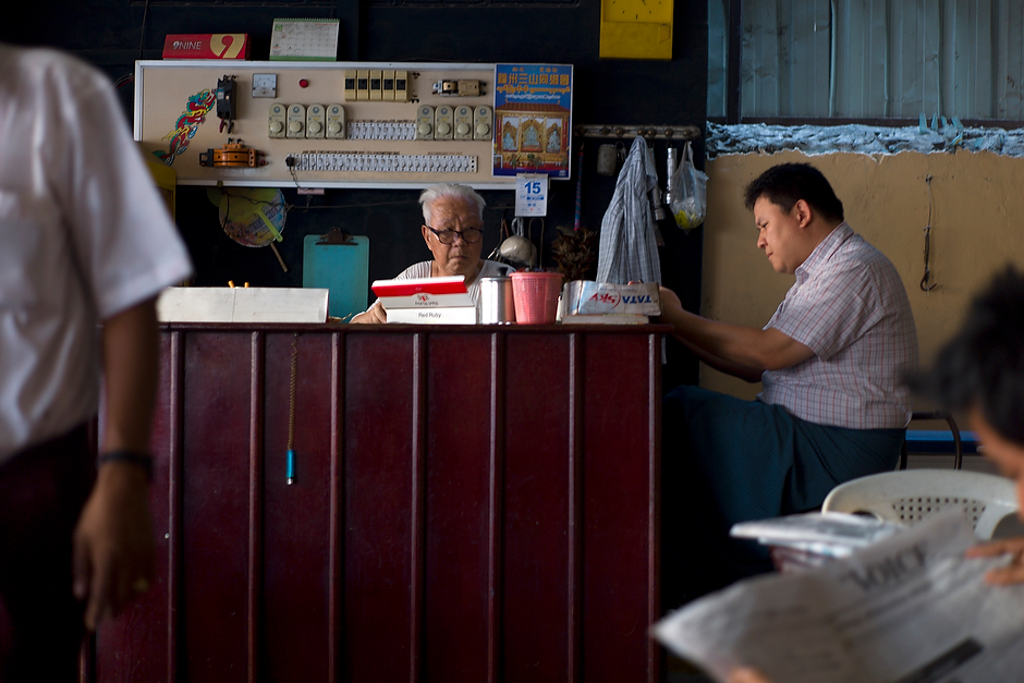 A Chinese-operated cafe in Mandalay. The influx of mainland Chinese to the city in recent years has generated unease among locals, but ethnic Chinese who have lived here for two or three generations now are seen as different from their newly-arrived compatriots.