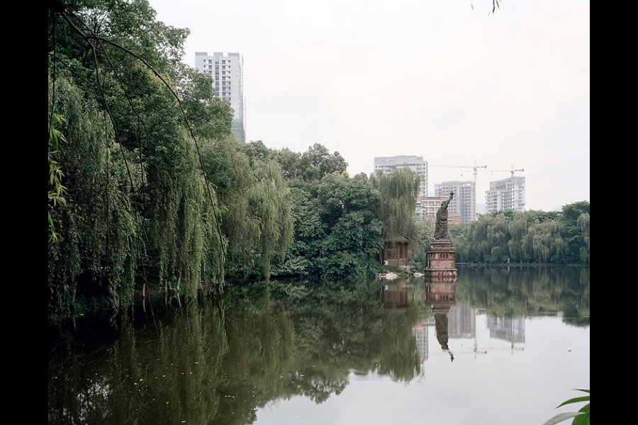 A replica of the Statue of Liberty in Shaping Park, Chongqing.