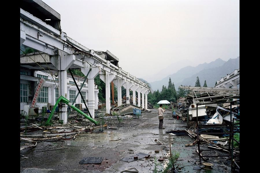 Ruins one year after the 2008 earthquake in Hanwang, northern Sichuan.