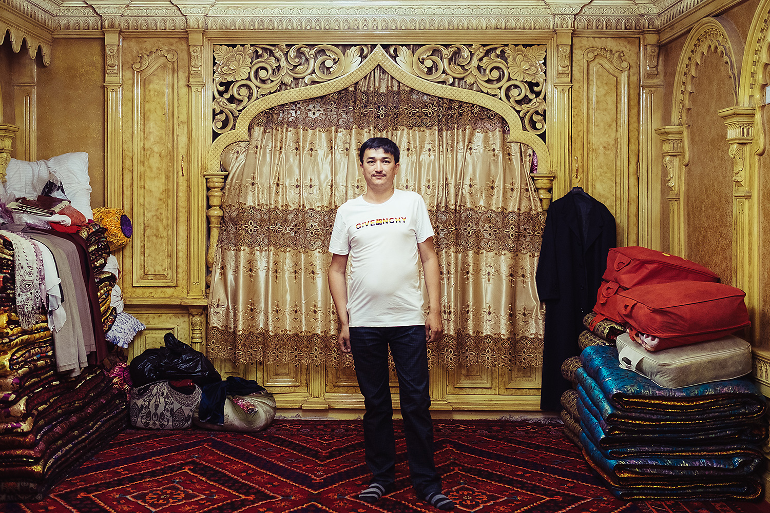 The businessman Ahmatjan, who only gave his first name, works in the clothing trade between Kashgar and Guangzhou. He lives in a large house in the center of Kashgar, and hopes to send his son to a soccer academy in Guangdong.
