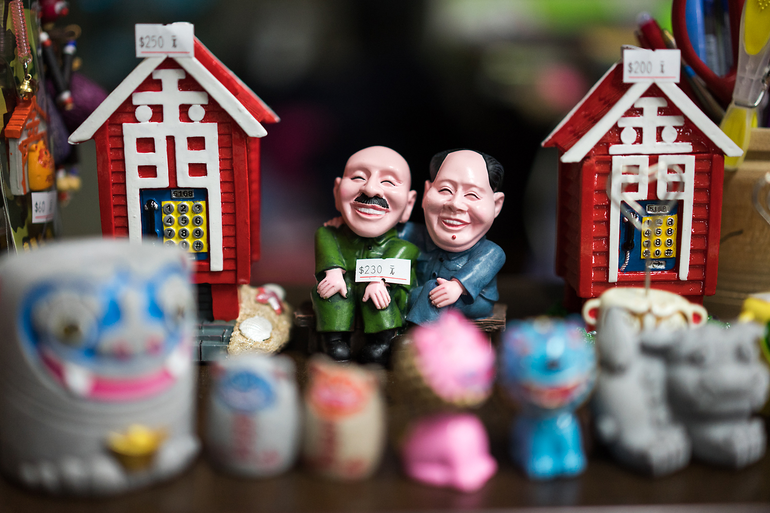 A souvenir in a shop in Little Kinmen humorously depicts Chiang Kai-shek and Mao Zedong sitting together, Mao's arm around Chiang. The two leaders led their respective sides through a bloody civil war, culminating in the battle over Kinmen in October 1949.