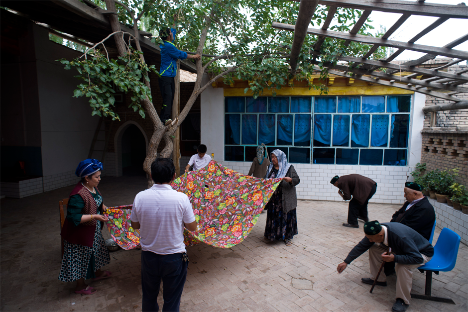 In Memet Zunun's courtyard, family members pick up mulberries that his grandson, Ekber, standing in the tree, has shaken loose. Ekber, a fourth-generation soccer maven, was a star player on an Artux team sponsored by local businessmen. Now he teaches physical education at Iksak Elementary School.
