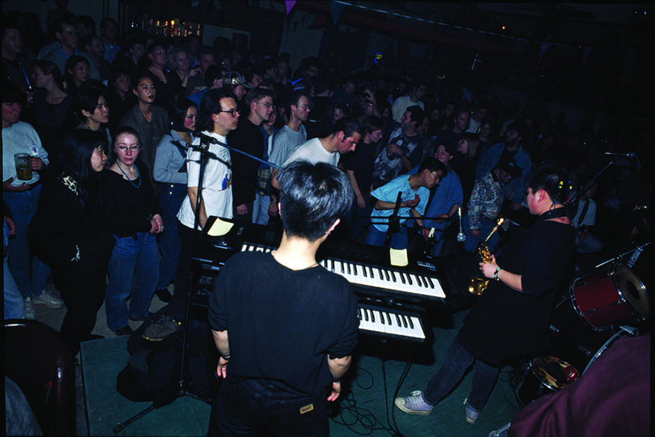 July 1998. Cui Jian and Liu Yuan performing at the French Embassy music festival.
