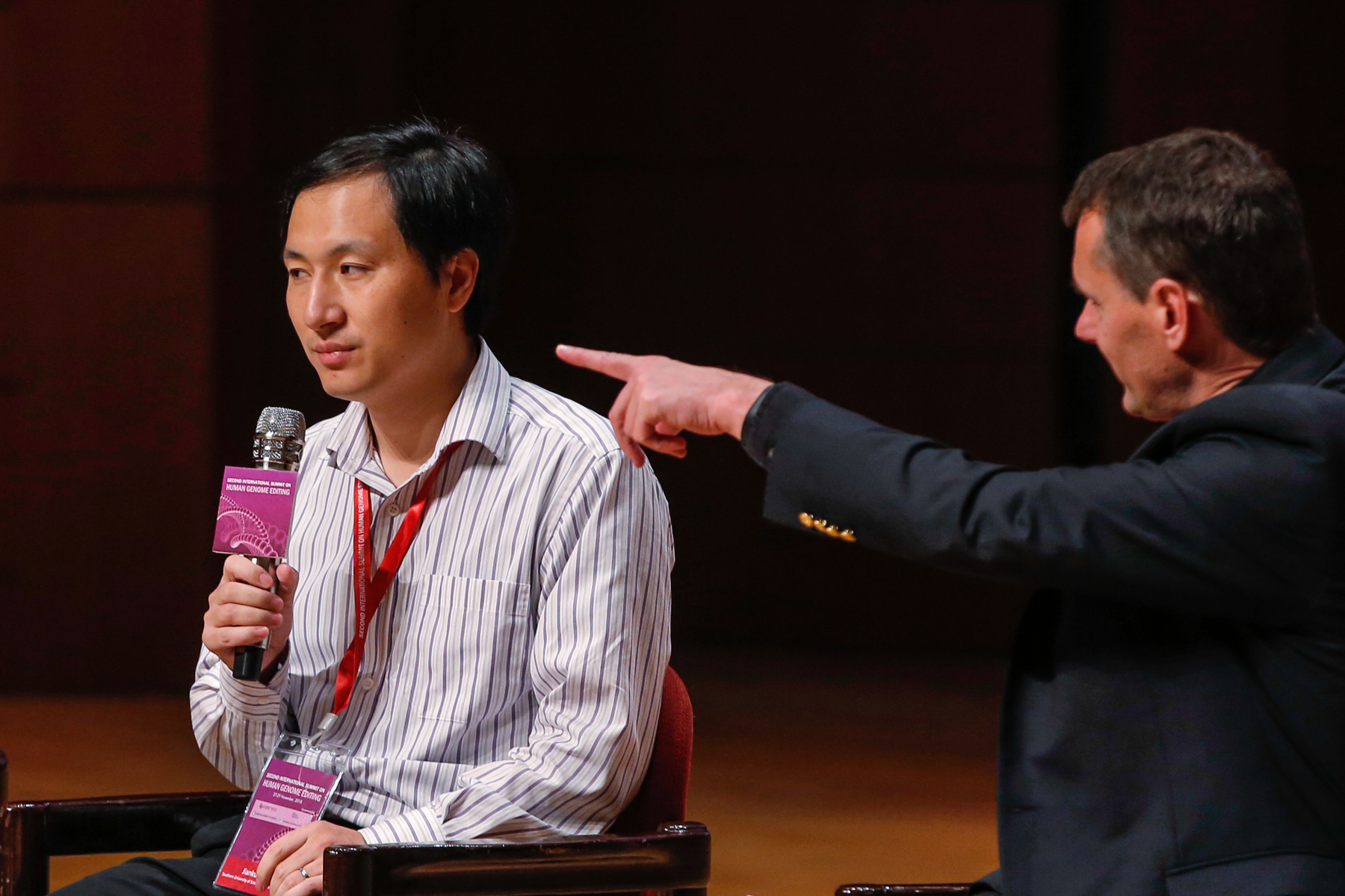 He Jiankui, a Chinese scientist, speaks during the Human Genome Editing Conference in Hong Kong, November 28. Two days prior to the conference, He announced that he created the world's first gnomically-edited babies. The experiment was regarded as unethical by many scientists, but He has said he is proud of his work.  (Kin Cheung/AP Photo)