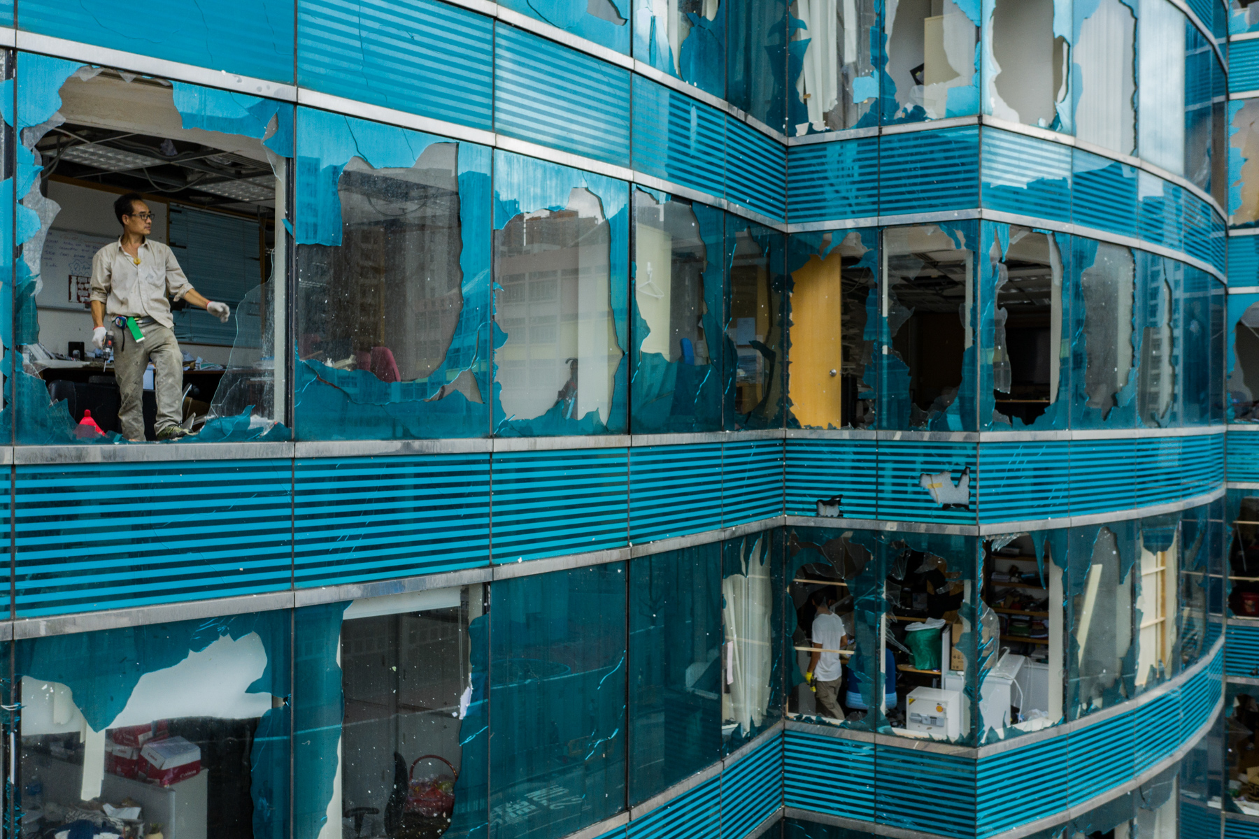 The aftermath of Typhoon Mangkhut in Hong Kong, September 17. According to meteorologists, Mangkhut was the world's most powerful storm in 2018. (Lam Yik Fei/Getty Images)