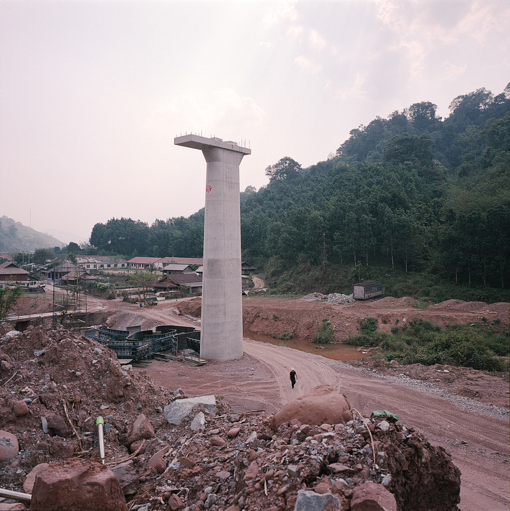 A column for the new railway line stands in New Boten, April 10, 2019.