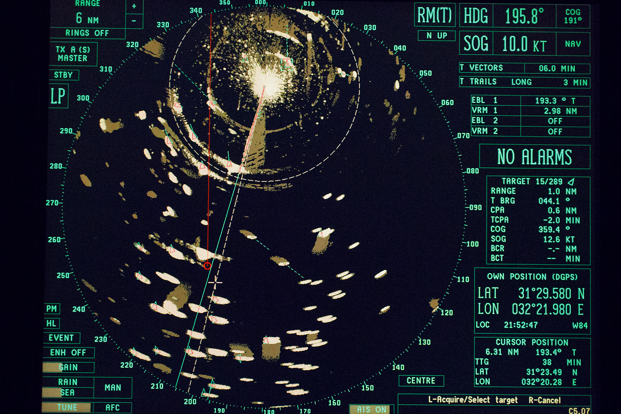 A marine traffic display on the bridge of a China-manufactured vessel on it's way from the Mediterranean to Asia, the Suez canal, 2016.