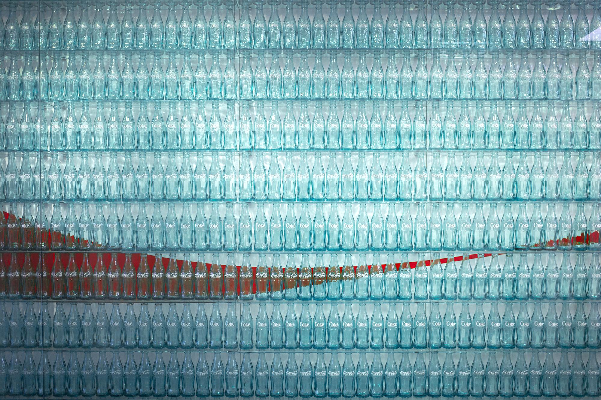 A visitors display at a Coca-Cola bottling plant, Hong Kong, 2016.