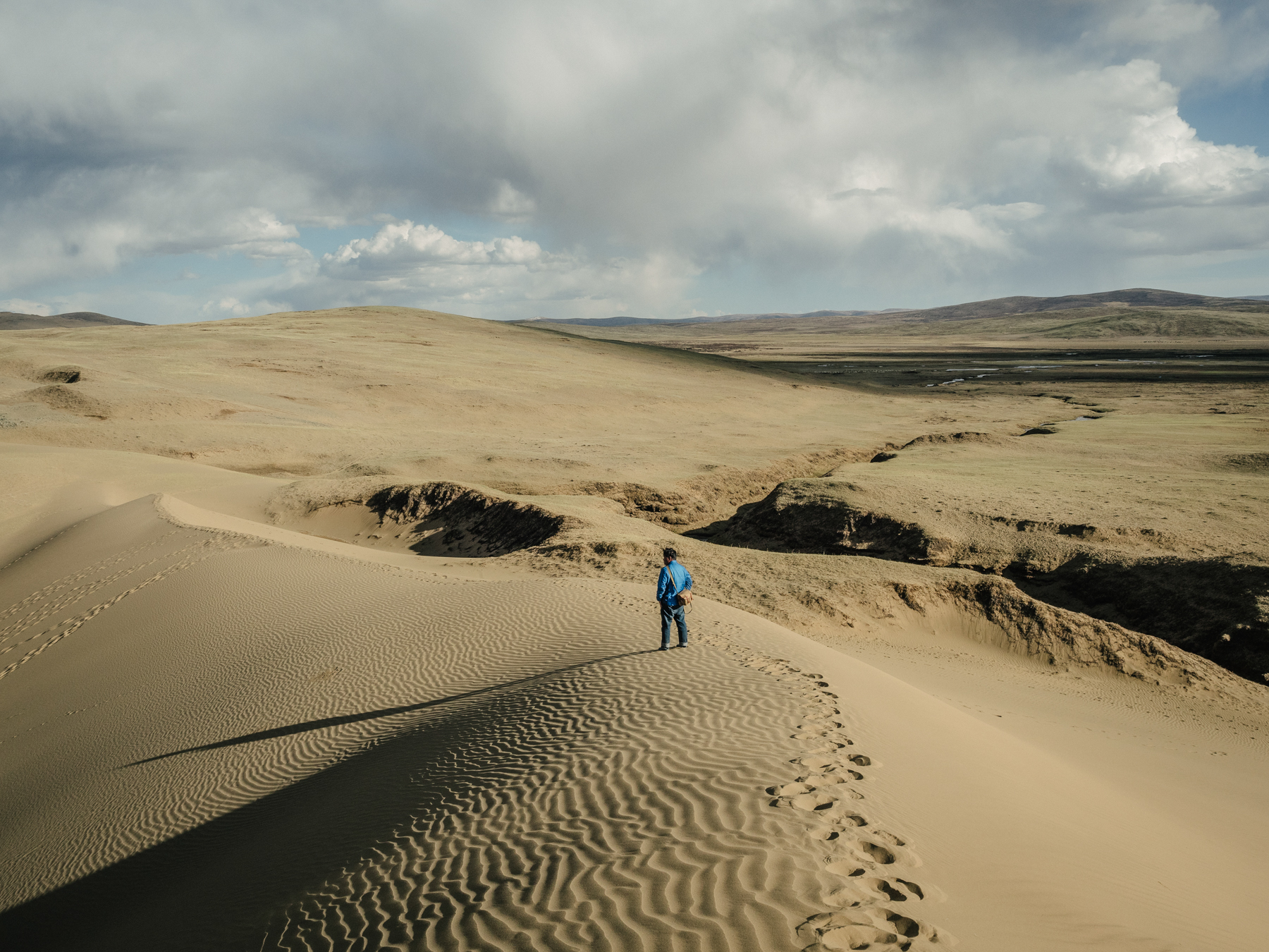 On the edge of a desert that was once grassland, Yang observes the landscape from the top of a sand dune.