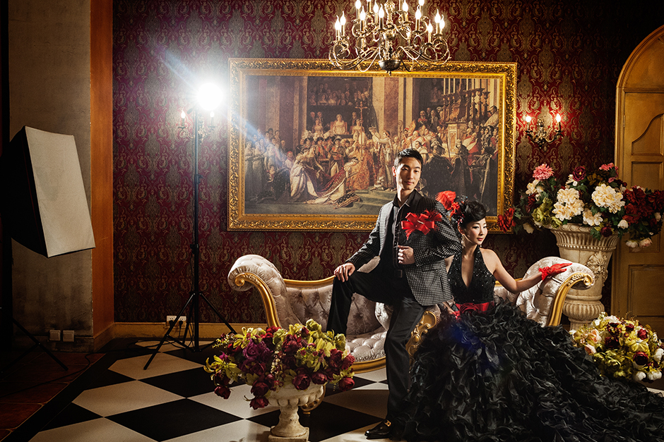 Gu, twenty-eight, and Xien, twenty-six, pose for their wedding photos at Dream Castle in central Shanghai. Each neighborhood of Shanghai has at least one wedding studio.