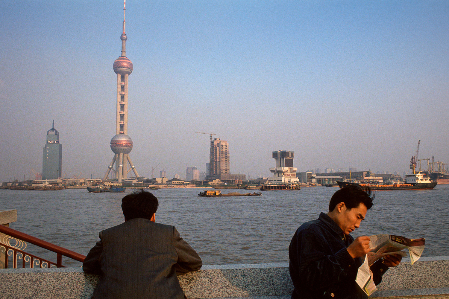 View of the Pudong New Area in 1994 seen from Puxi Bund, across the Huangpu River.